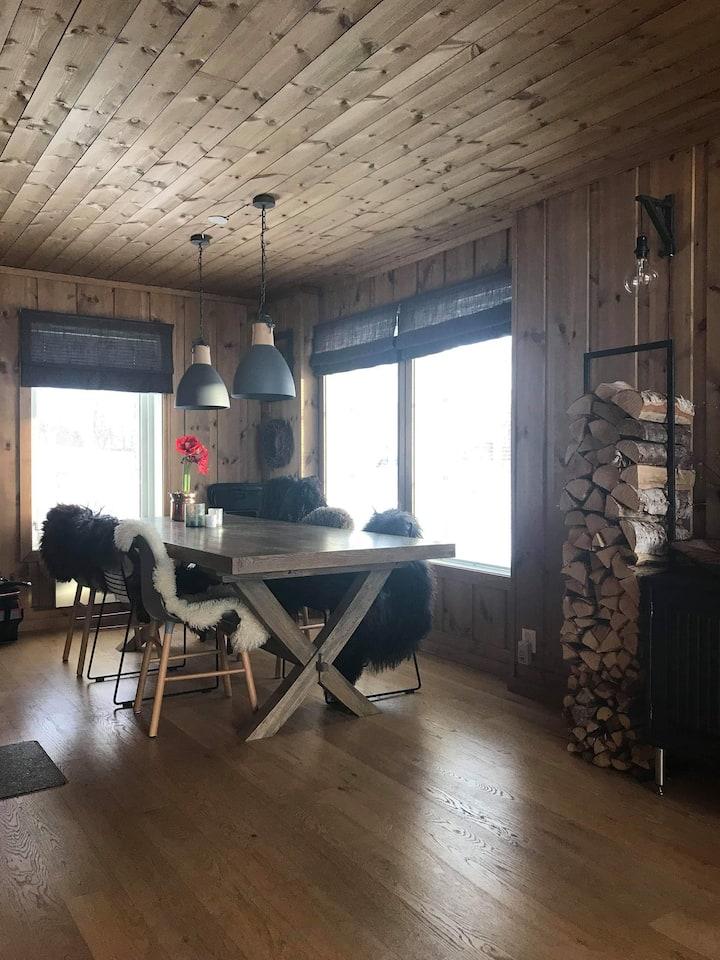 Flott hytte nær skitrekket og skiløyper.