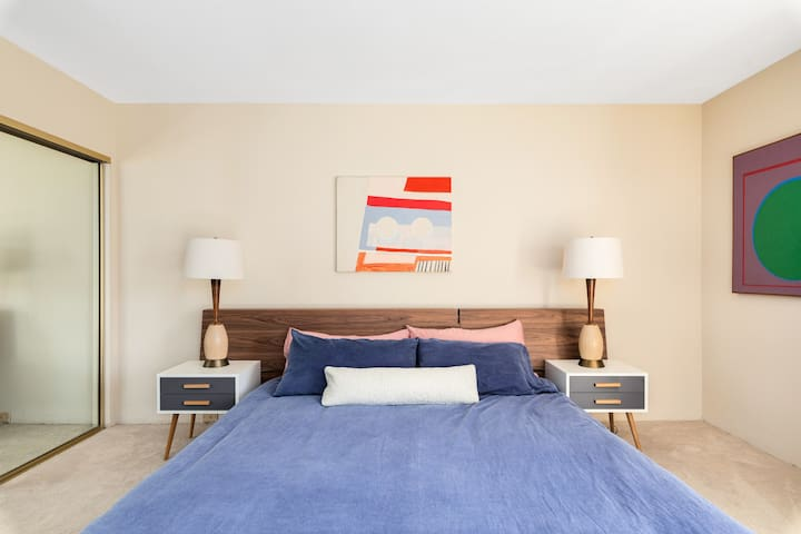 The master bedroom includes a cal king bed with a new Leesa mattress