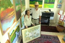 In the Gallery with Jeff and his framed Art