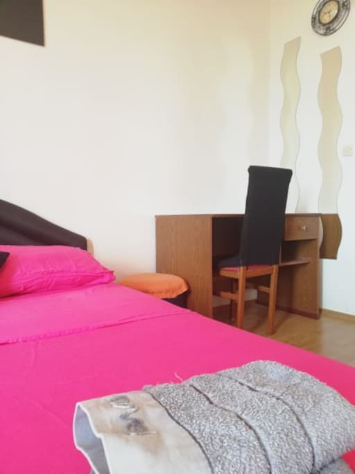 Double bed and a working area