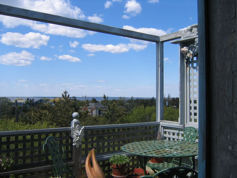 Back deck with views of the Bay
