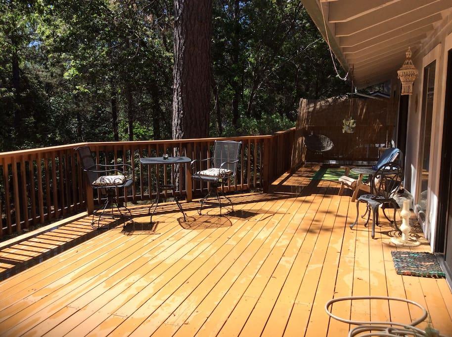 Back deck, morning sunny spot