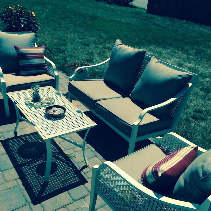 Relax, talk, have coffee or wine on this comfy setting area on the patio