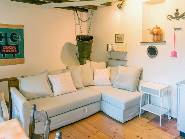 Wohnzimmer/Küche (1. Stock; Schlafsofa, bis 2 Personen, 140 cm breit)