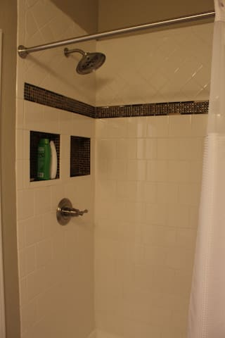 Large shower in Hall Bathroom
