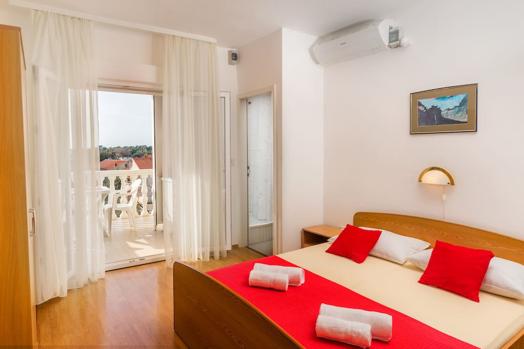 Studio includes space where you will find double bed 160x200cm, bathroom and balcony on which you will find kitchen