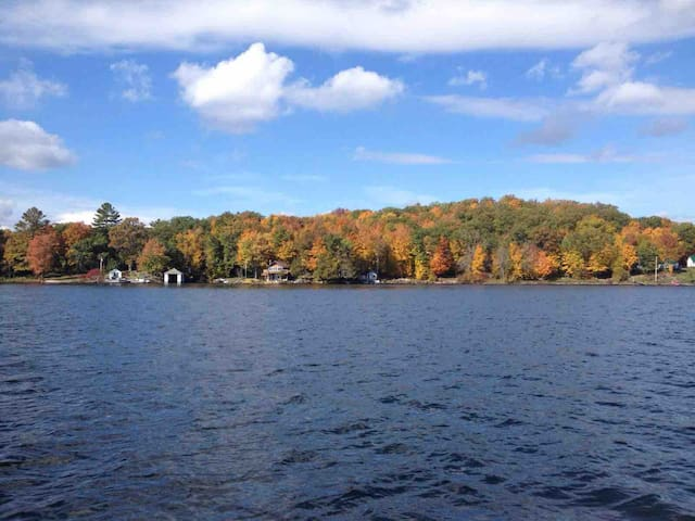 This is a beautiful fall day!  Looking at the chalet from the Other side of the lake.