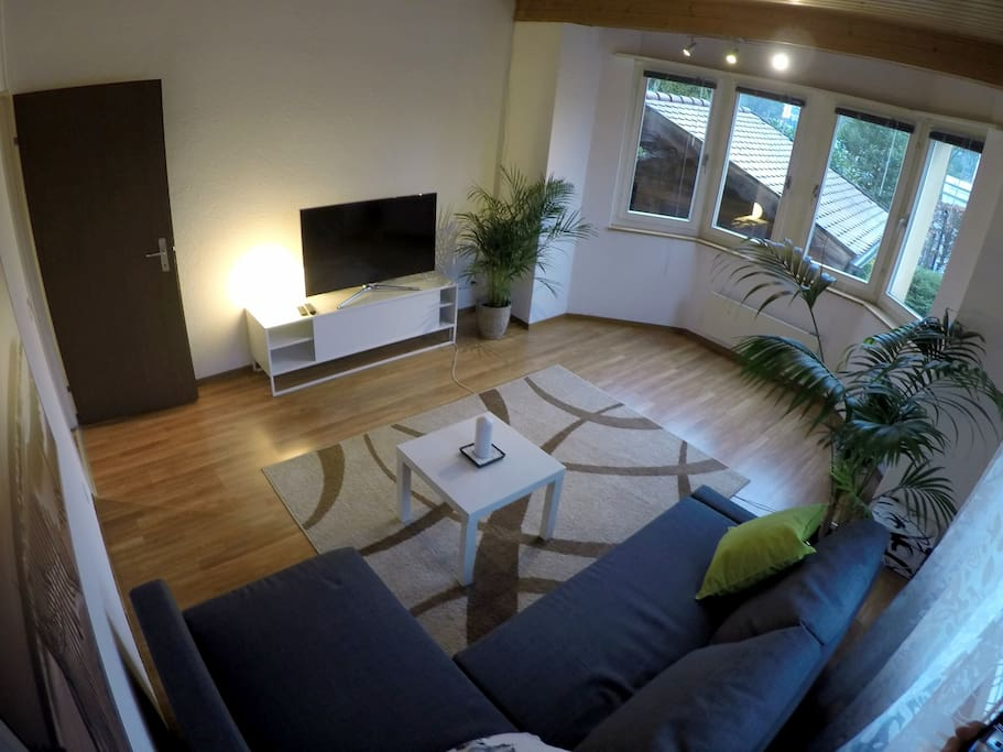 living room with sleeping couch TV and WiFi