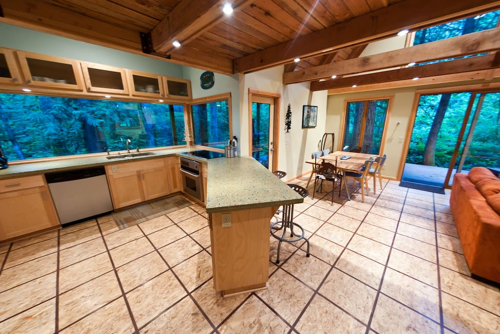 Kitchen with 10' Window overlooking Creek and Forest