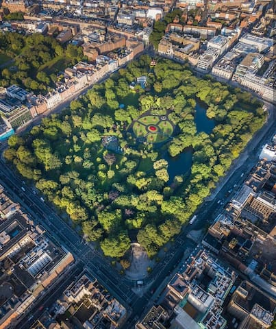 St Stephens Green from above. Our little house is visible with a magnifying glass in the top left corner! Thats how close we are!