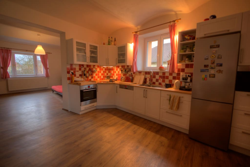 kitchen and living room (can be separated by pulling a wooden wall)