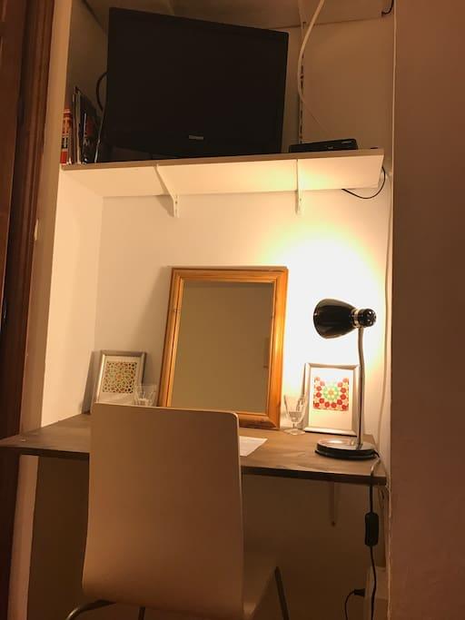 Your bedroom with desk, tv, dvds