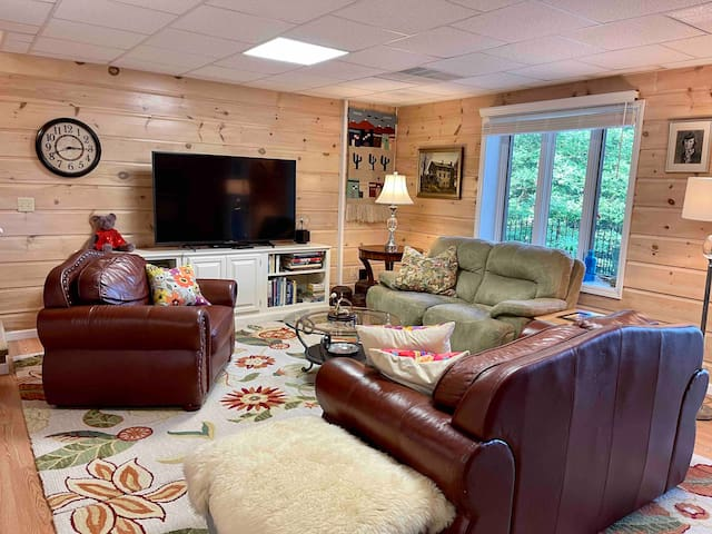 There is lots of lounging space in the family room with a 60 inch TV and a DVD player.  There are lots of family oriented DVD's.