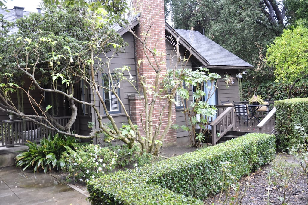 The guest house is located at the rear of the property. The house has a front & side porch off the bedroom.