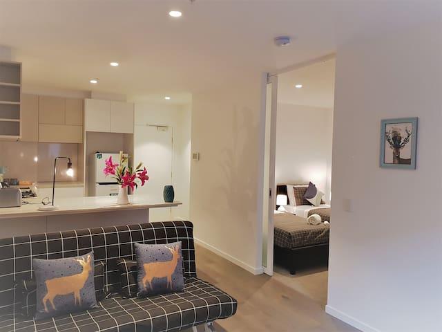 墨尔本城市生活 市中心两室一卫 现代全新公寓 免费wifi 免费电车