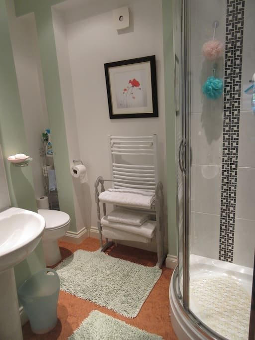 The en-suite shower room is equipped with white towels,complementary soaps, hair shampoo, shower gels and more. There is a hair dryer for your use.