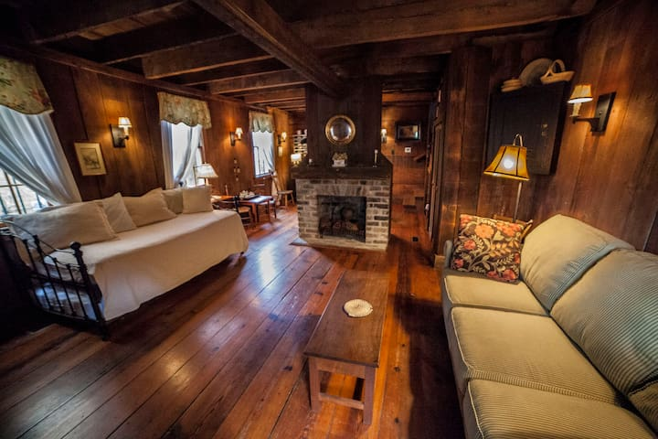 Living area includes original old growth pine in floors, ceilings, and walls.