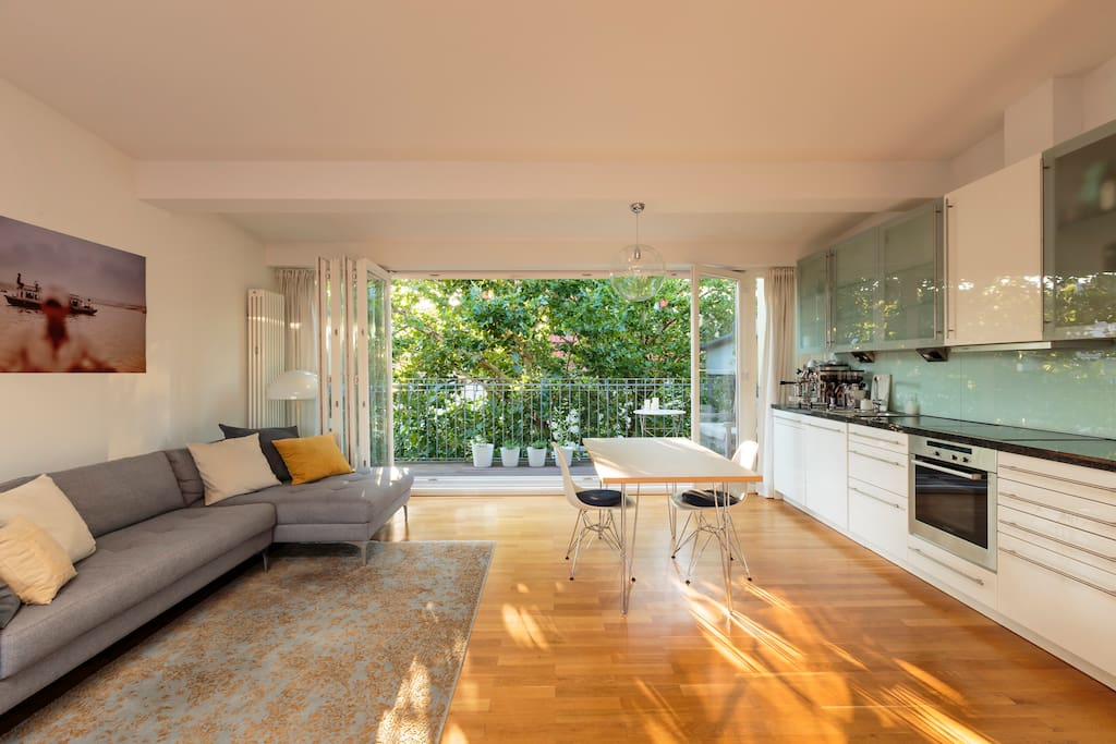 Open kitchen with balcony