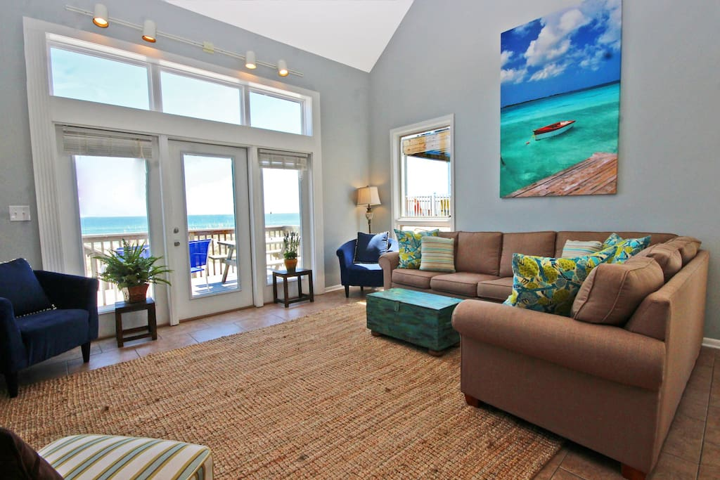 Our beautiful beach home sits directly on the white sandy beaches of the Gulf of Mexico.