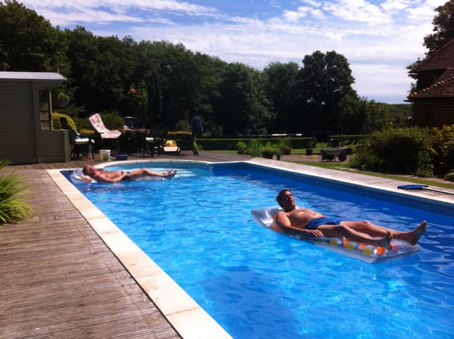 The heated pool; available from mid-May to early September
