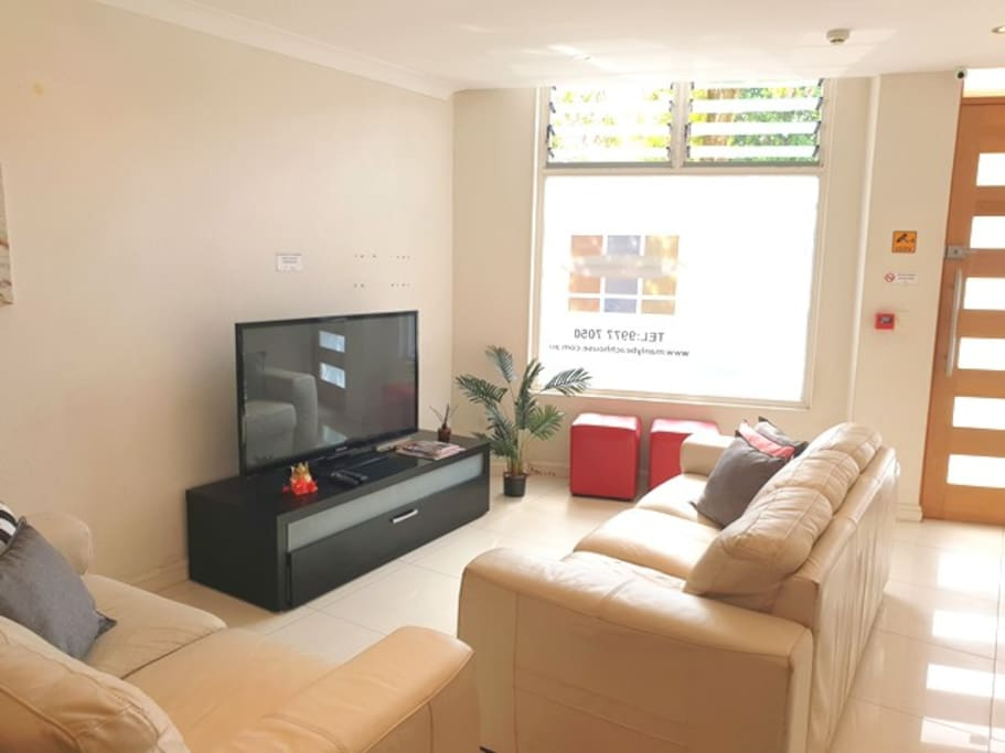 Living room with cable TV (shared area).