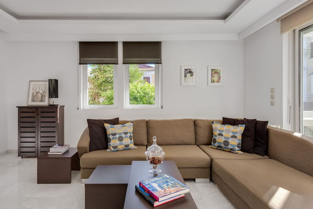 Spacious living room with large sofa
