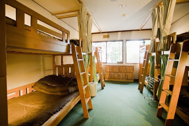 Free shuttle to ski resorts! Mixed dormitory room