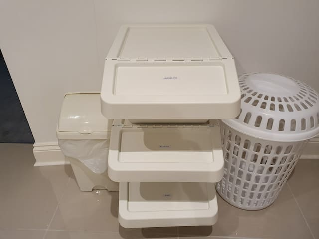 Recycling, bin and laundry basket