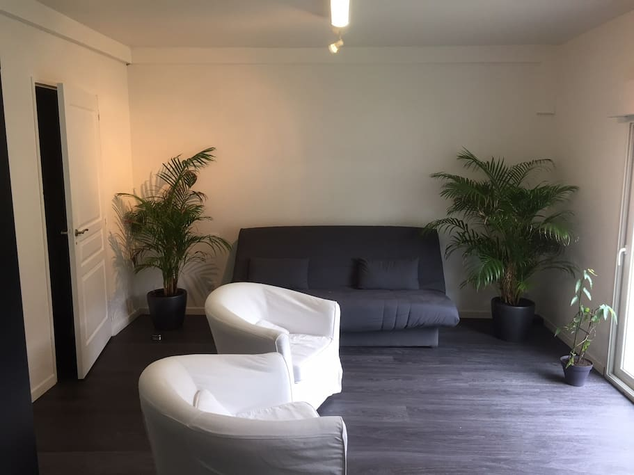 Salon avec canapé lit