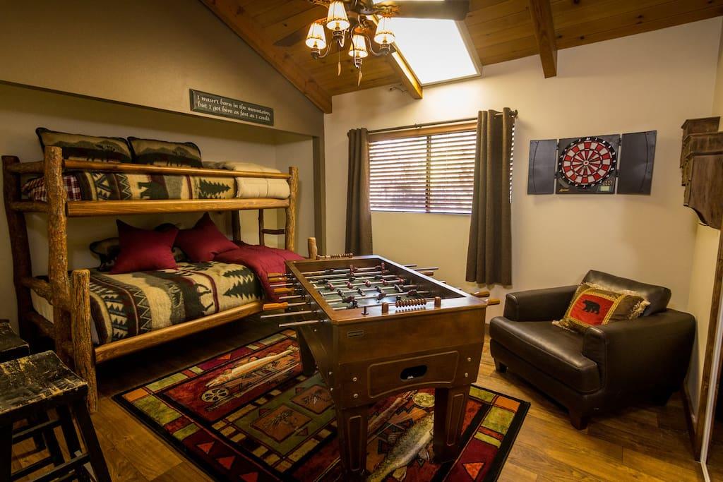 Foosball table and dart board bedroom 1