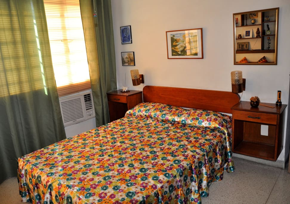 The bedroom features air conditioning  and a real double bed.