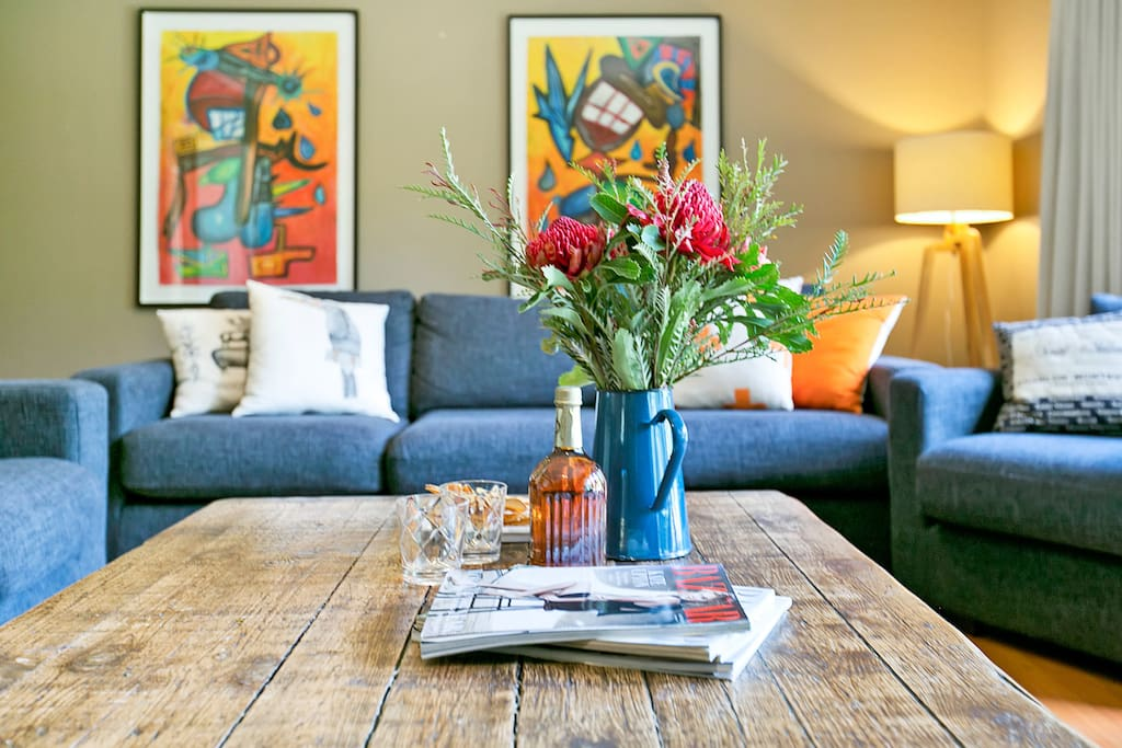gorgeous artwork in intimate living room