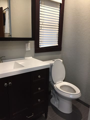 Large medicine cabinet and ample vanity storage