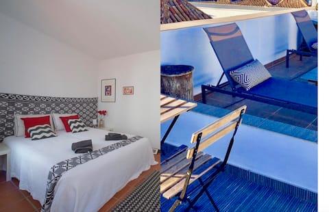 Nice bedroom/bathroom+terrace. Very central