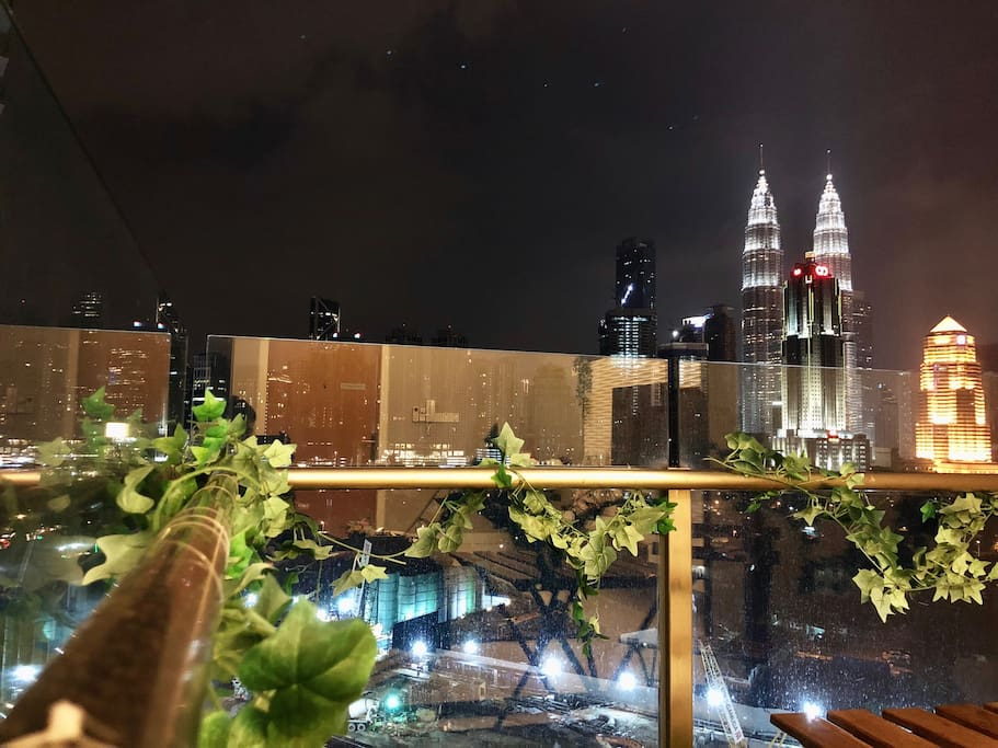Awesome KL City panoramic view from Balcony (Night Time)