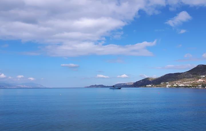 Loutraki-Sunny Balcony Flat #1 By The Sea!!!