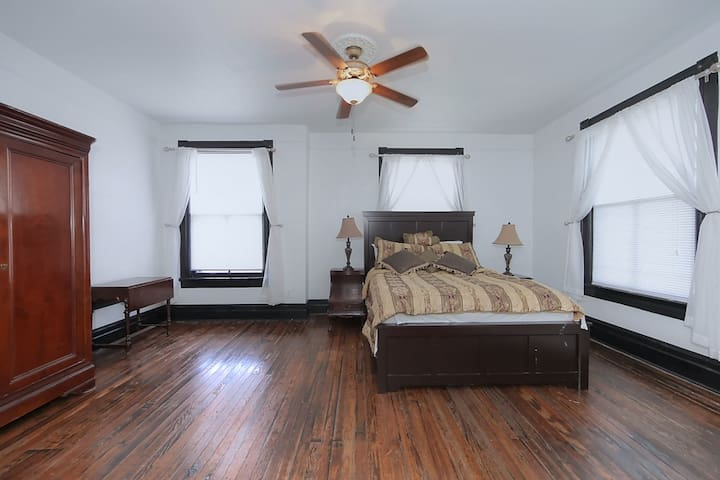 Master Bedroom - Emphasis on Bed and Minka Aire Fan