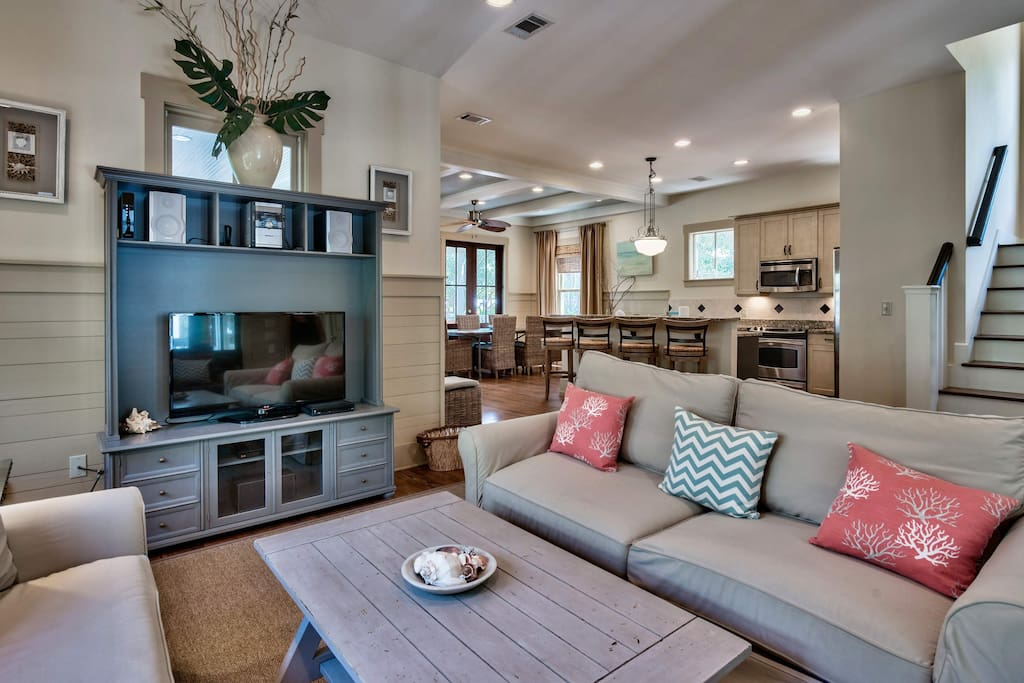 You'll enjoy the open design as you sit in the living room with large flatscreen TV and DVD.