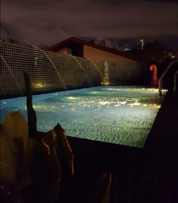 Salt water pool with Jazuzzi (night)