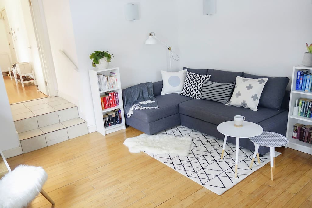 A shared living area, with a sofa bed that can sleep two.