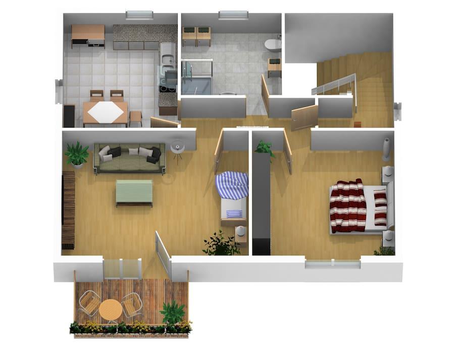 Grundriss FeWo OG/ plan vacation rental first floor
