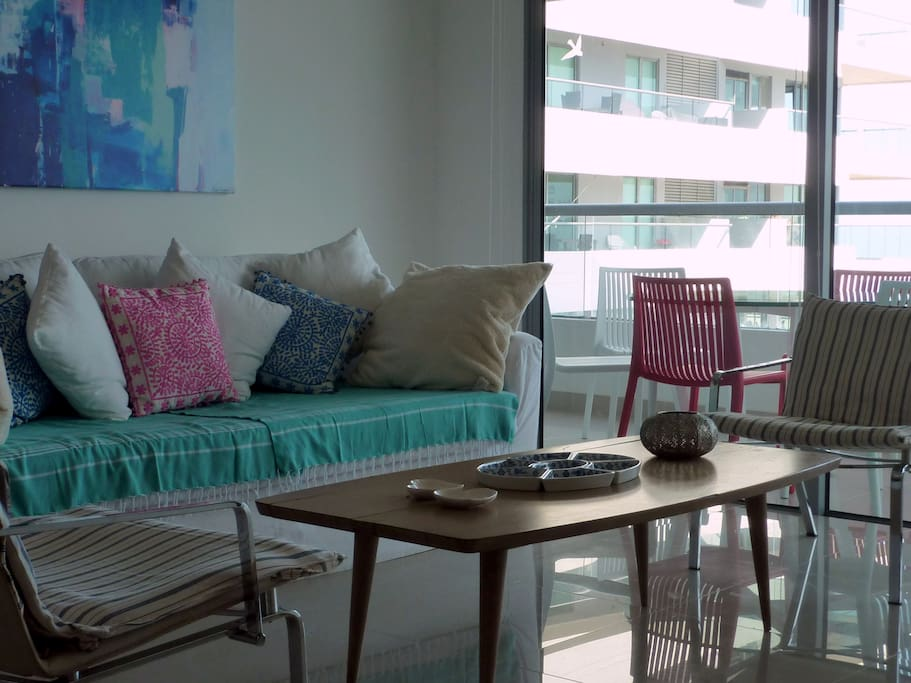 View of the sofa with turkish towel covers