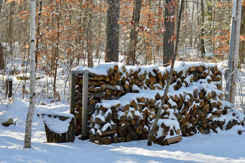 firewood on site for the fire pit and fireplace