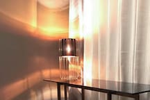 Glass desk and lamp