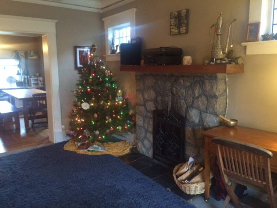 Wood burning fireplace (the Christmas tree will be gone!)