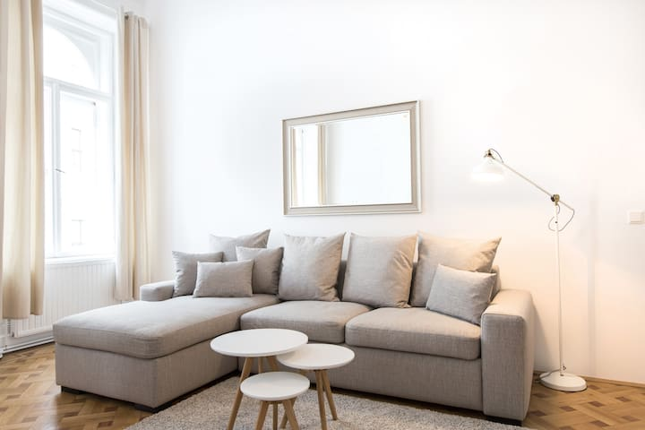Foldable sofa in the living room suitable for two people.