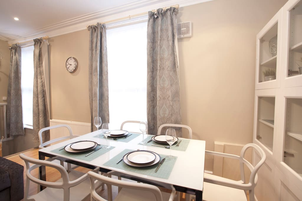 Dining table and dining set, seats six