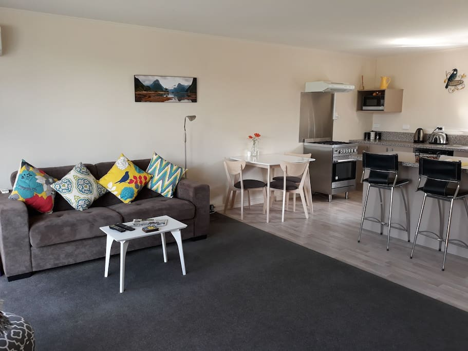 Spacious living area and full kitchen