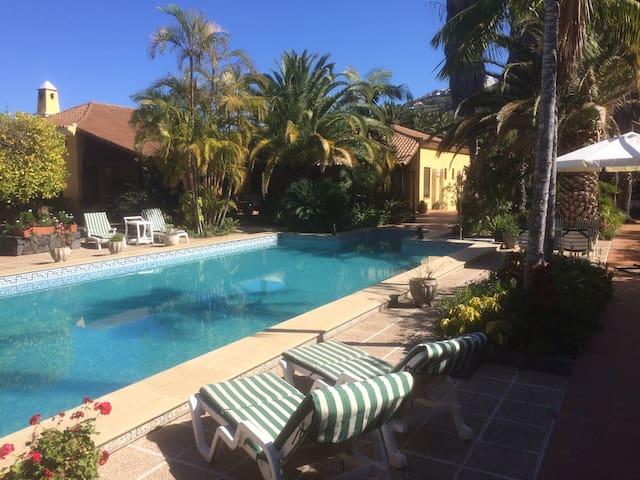 Great pool house studio apartment on organic farm - La Orotava - Cabaña