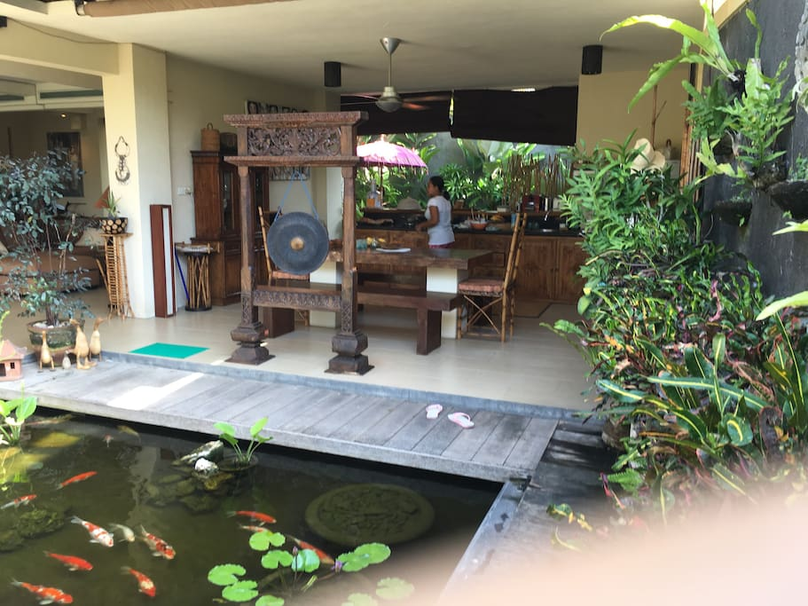 view of Kitchen adjacent to fishpond